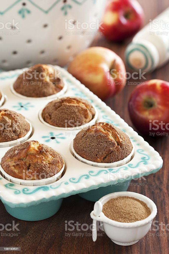 Apples and cinnamon muffins stock photo
