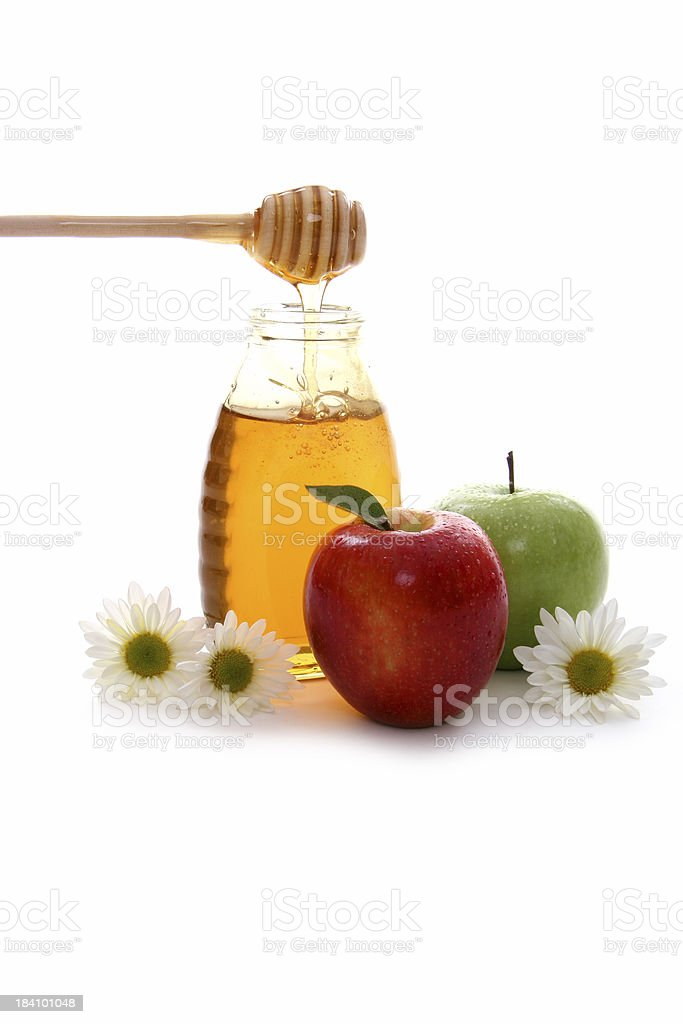 Apples and honey 2. stock photo