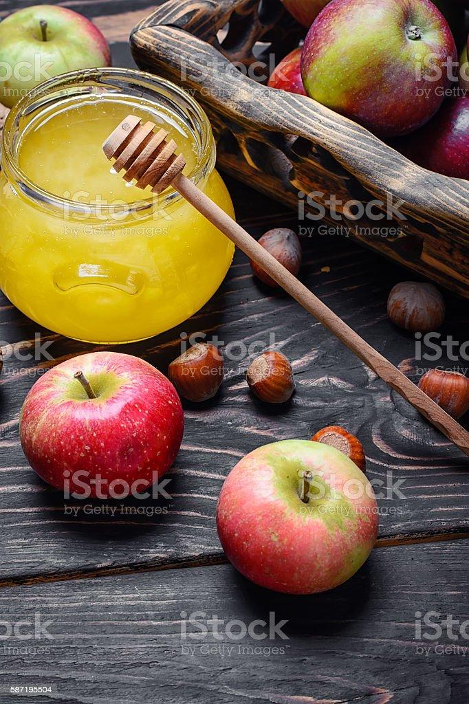Apples and honey stock photo