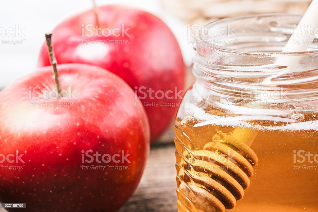 Apples and honey stock photo