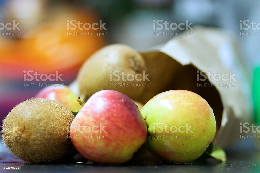 Apples and Kiwis stock photo