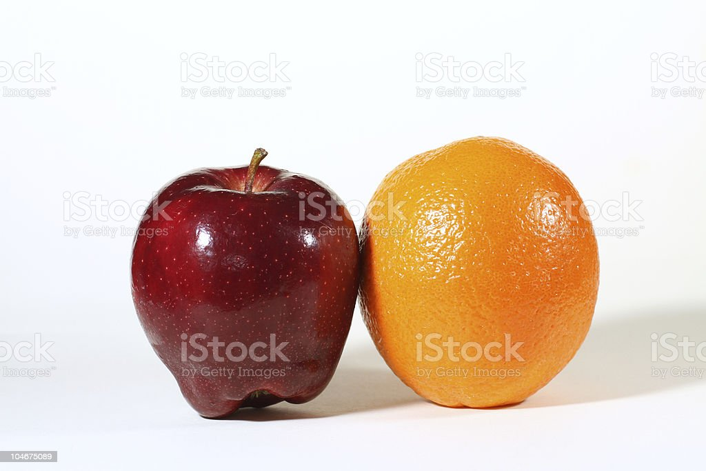 apples and oranges, a comparison stock photo