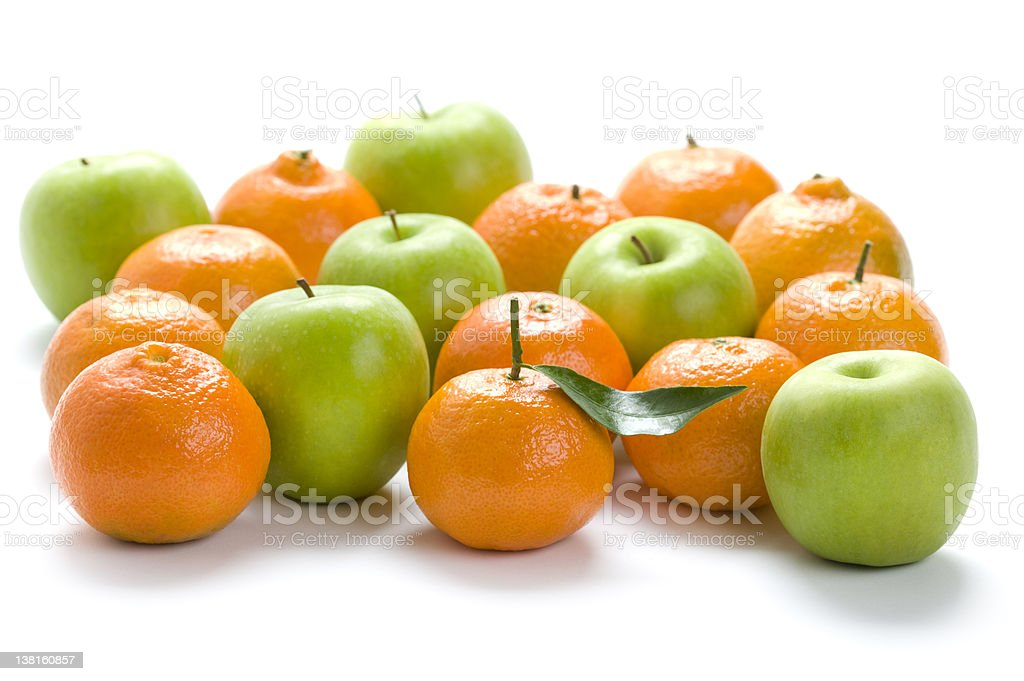 apples and oranges isolated stock photo