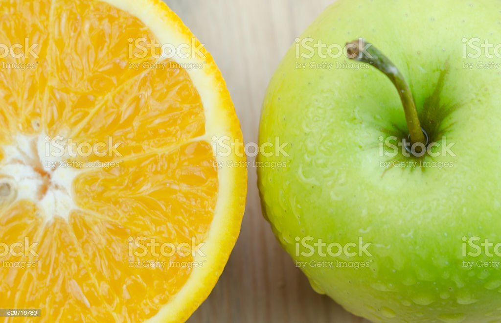 Apples and oranges stock photo