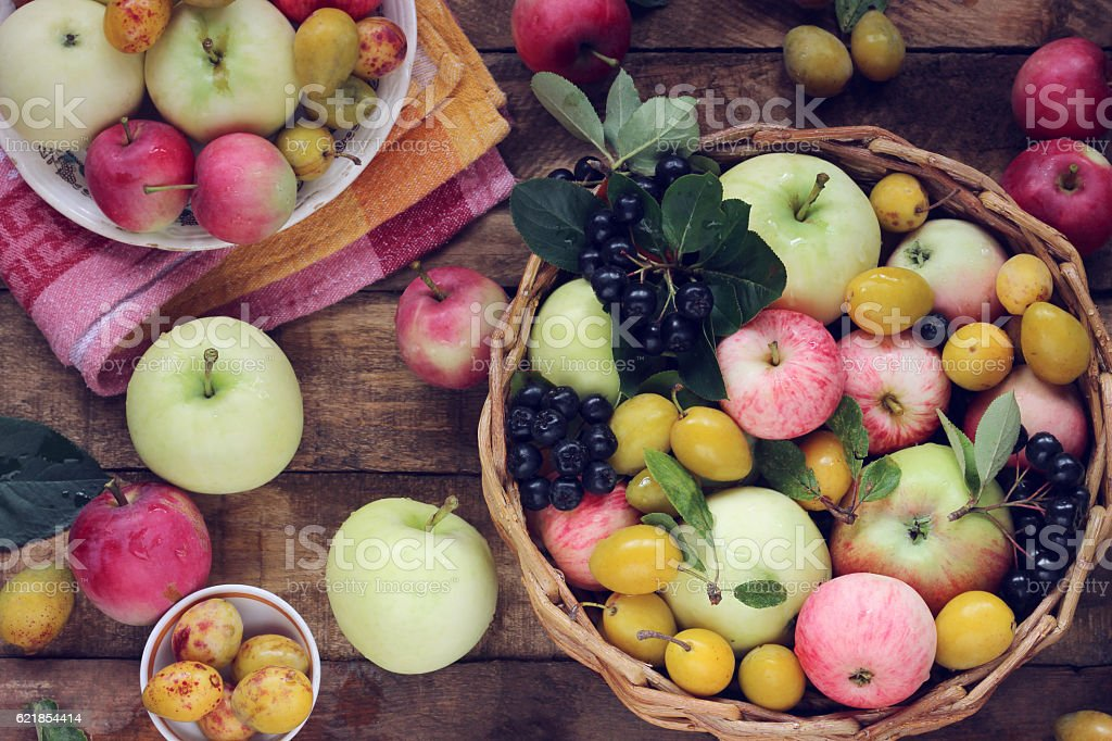 Apples and plums on the table, top view. Table-still life. stock photo