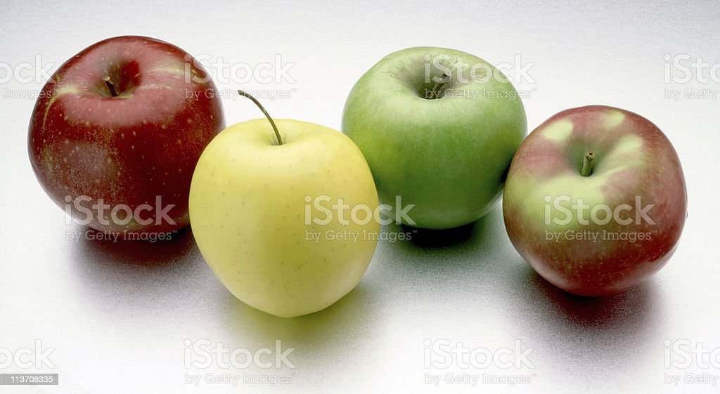 apples cut out on white stock photo