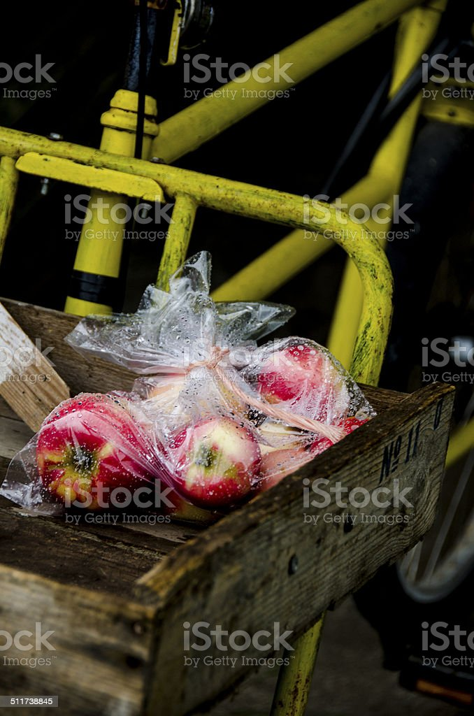Apples for sale from the organic farm shop stock photo