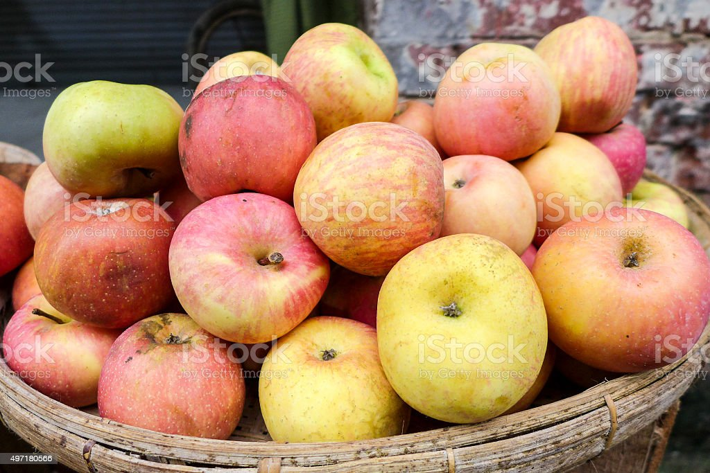 Apples for Sale in Local Market Myanmar stock photo