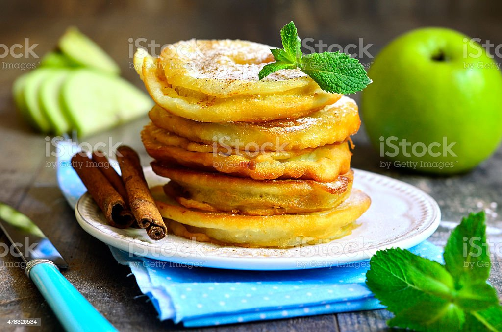 Apples fried in a batter. stock photo