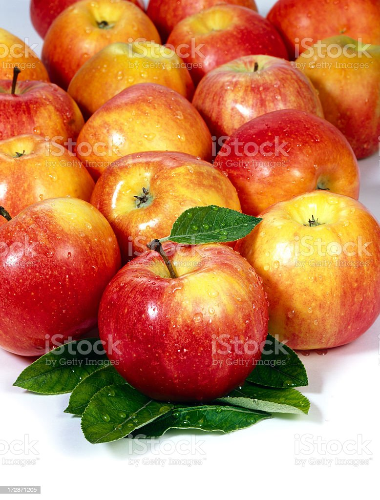 Apples Group + Leafs royalty-free stock photo