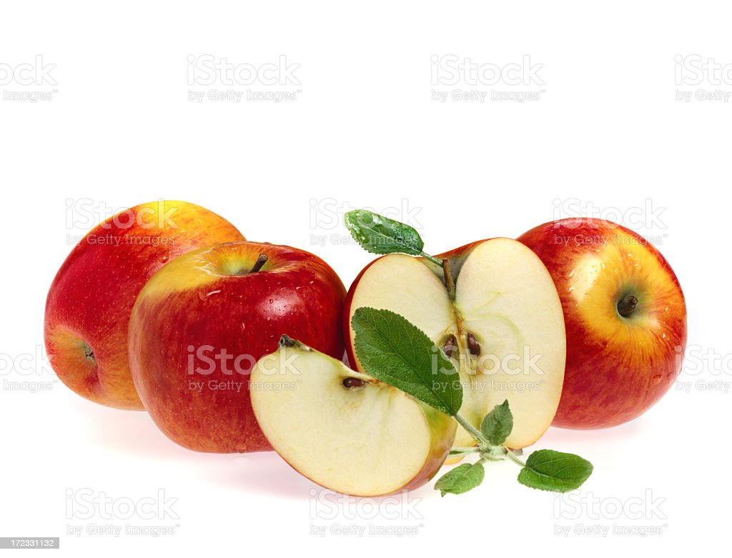 Apples, half and quarter royalty-free stock photo