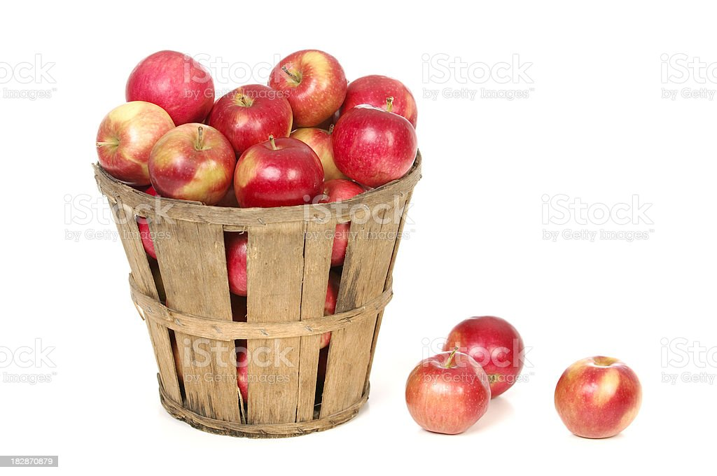 Apples In a Farm Basket on White stock photo
