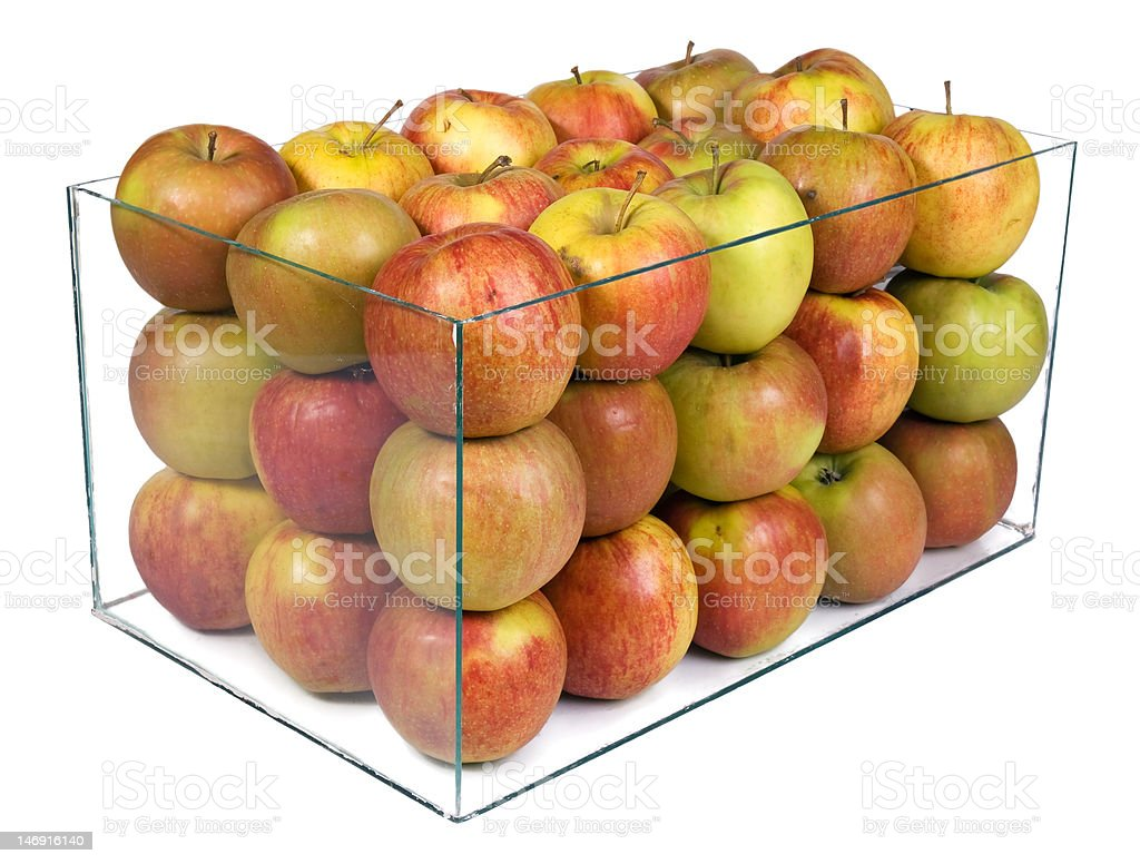 apples in a glass boxu royalty-free stock photo