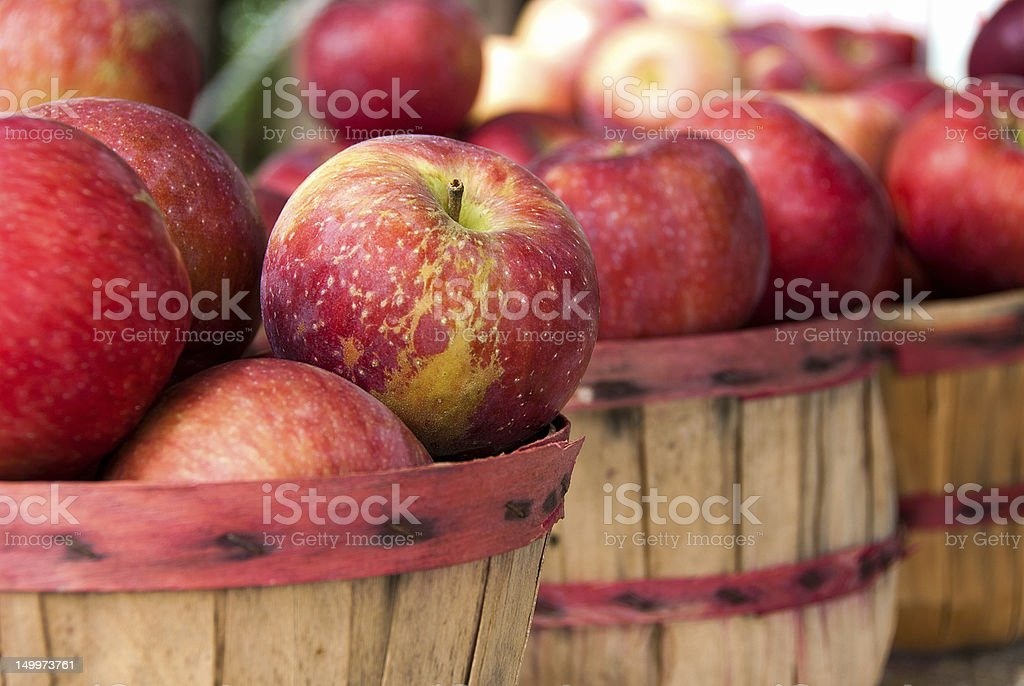 apples in baskets stock photo