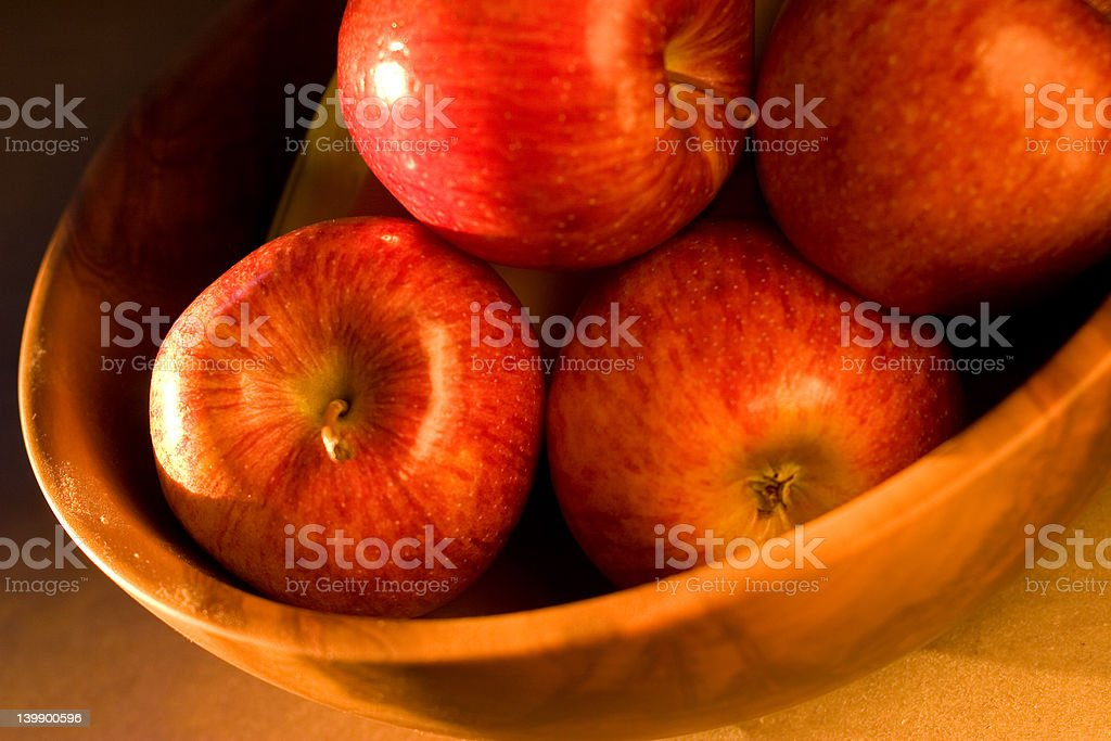 Apples in Twilight Sun stock photo