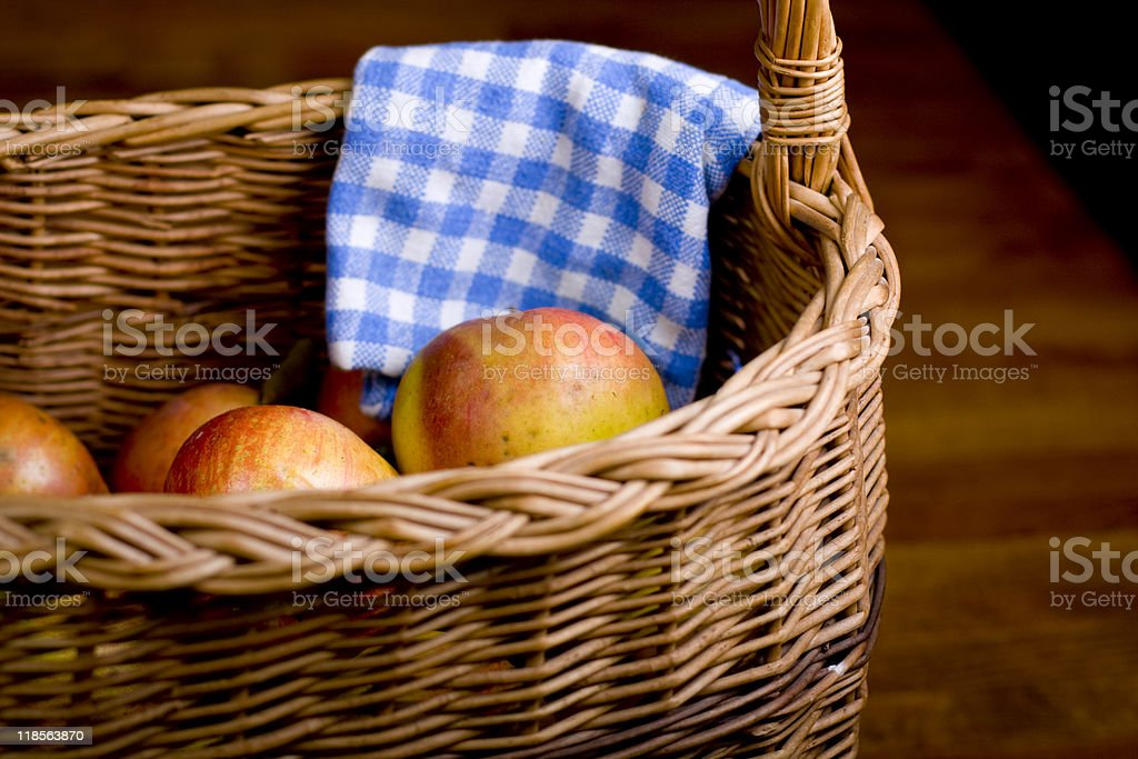 Apples in wooden pan stock photo