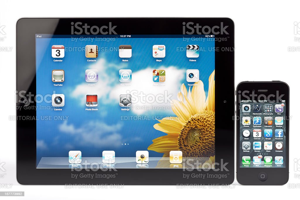 Apple's iPad 2 and iPhone 4 royalty-free stock photo