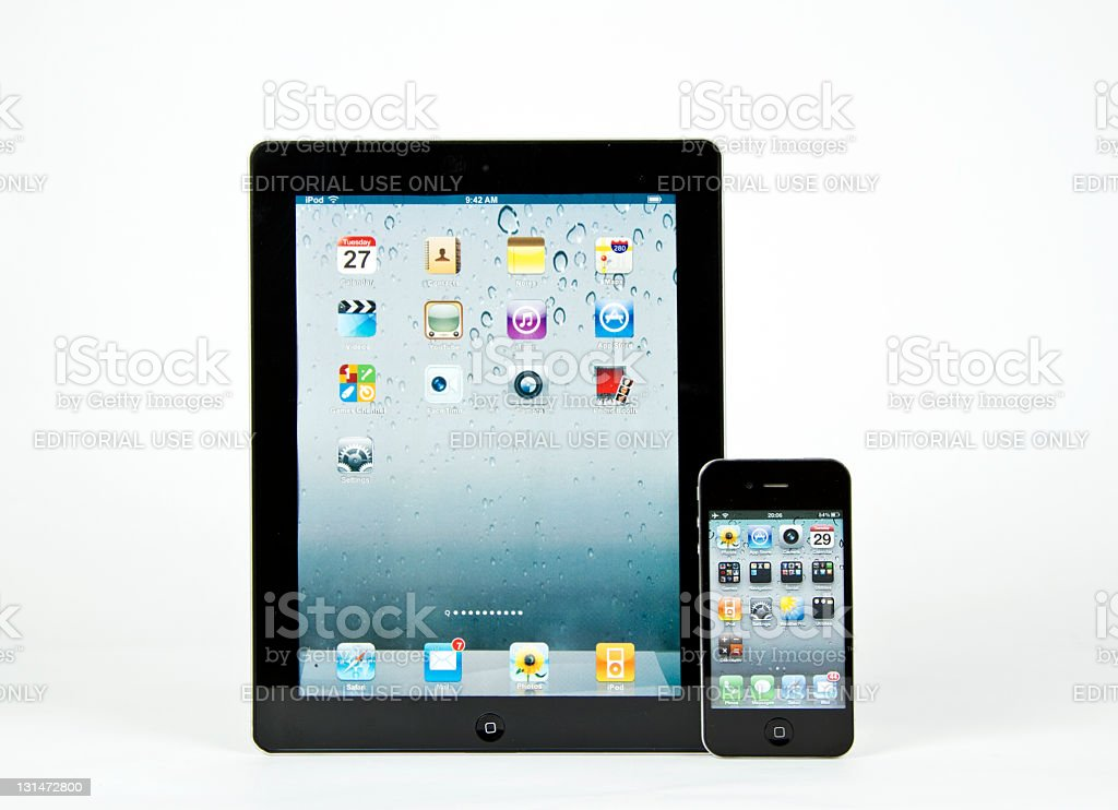 Apple's iPad 3G and iPhone 4 royalty-free stock photo
