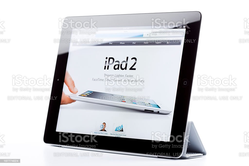 Apple's iPad2, isolated, showing iPad2's web site royalty-free stock photo