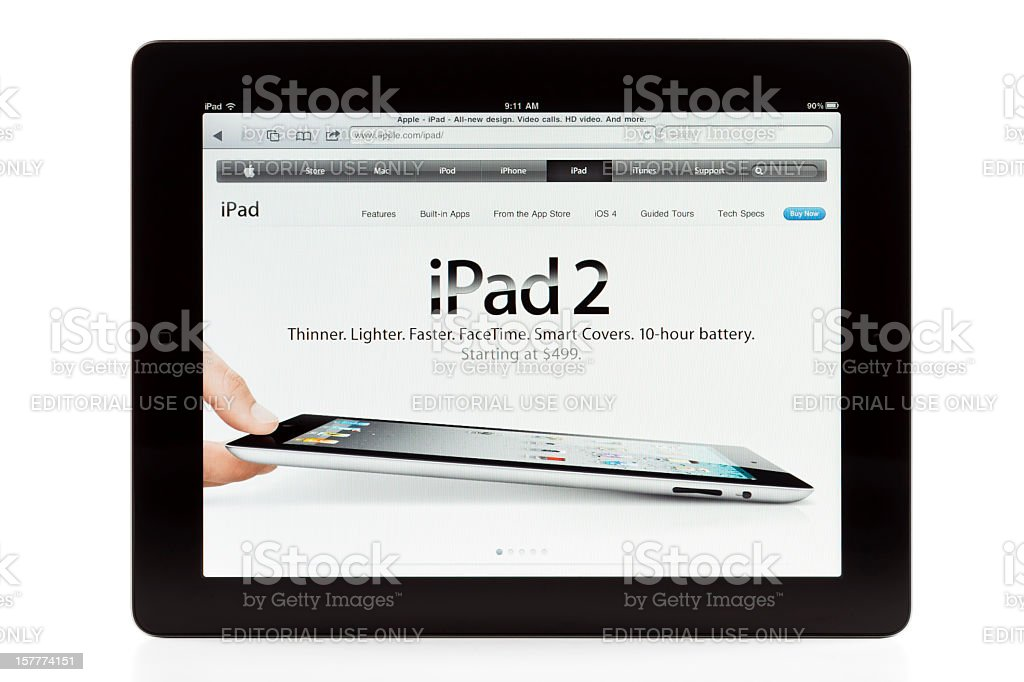 Apple's iPad2, isolated, showing iPad2's web site royalty-free stock photo