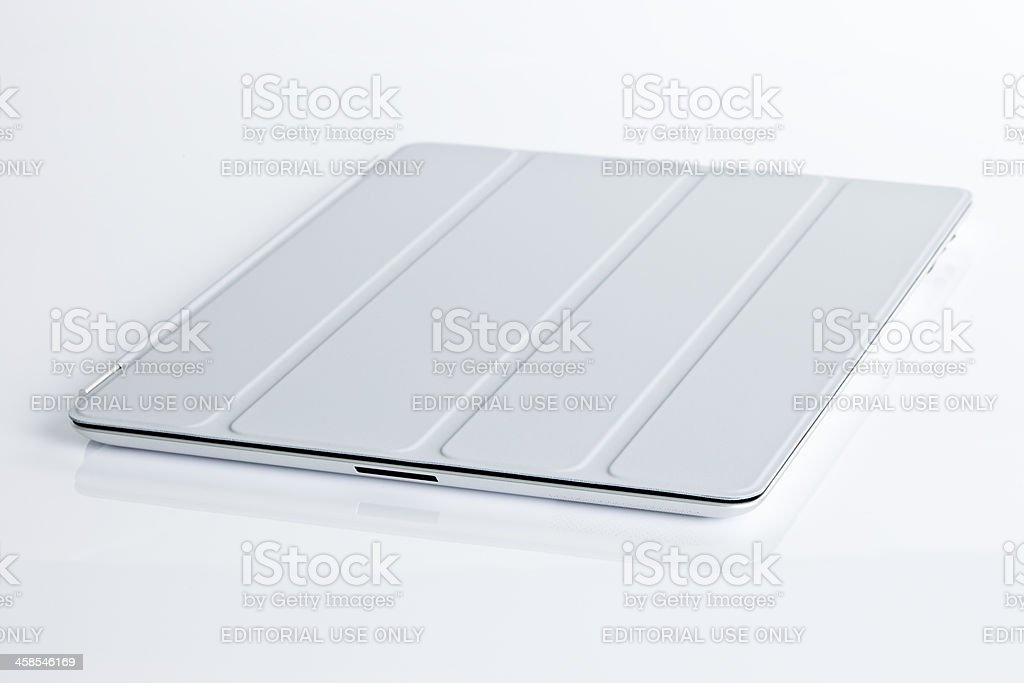 Apple's iPad2 with Smart cover, isolated royalty-free stock photo