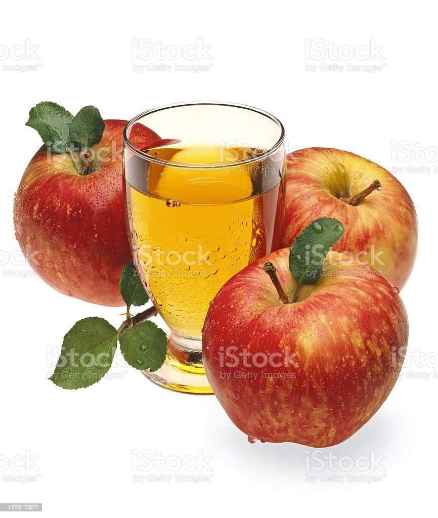 Apples, Juice and Leafs stock photo