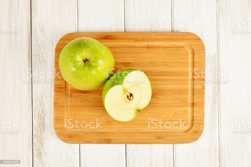 Apples on Cutting Board stock photo