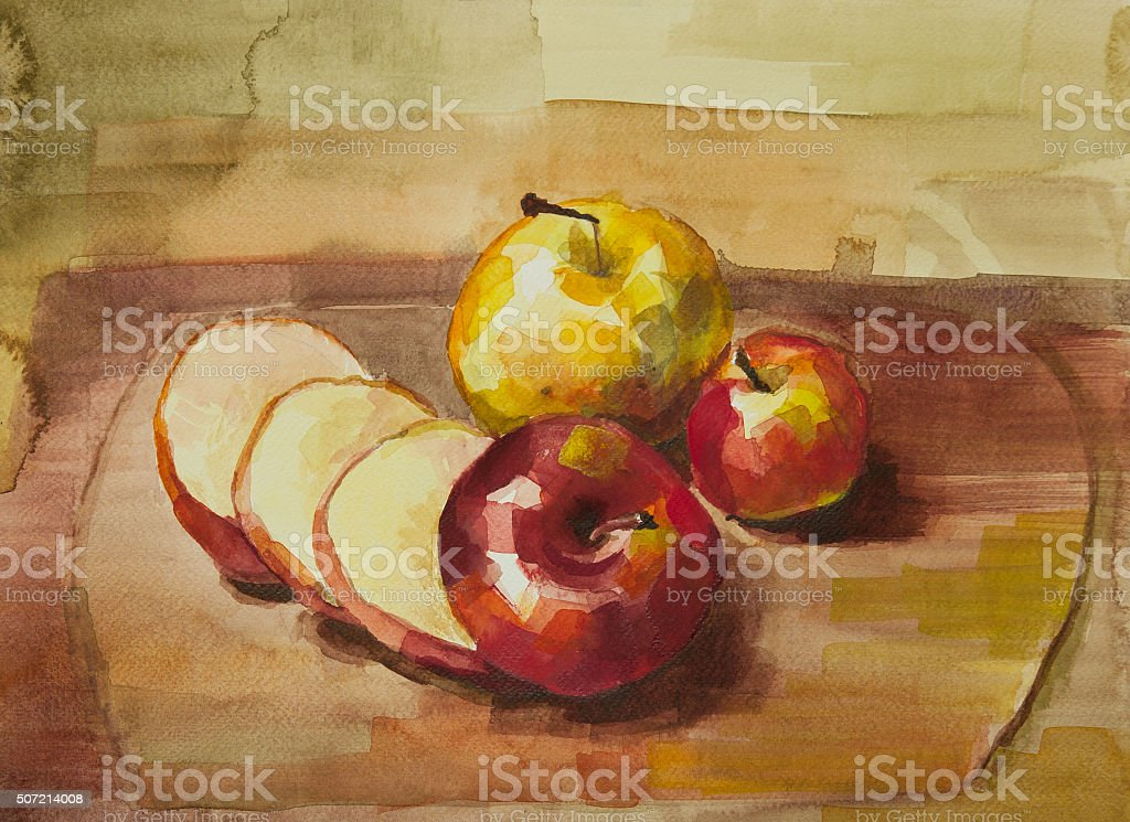 Apples on cutting board still life watercolor painting stock photo