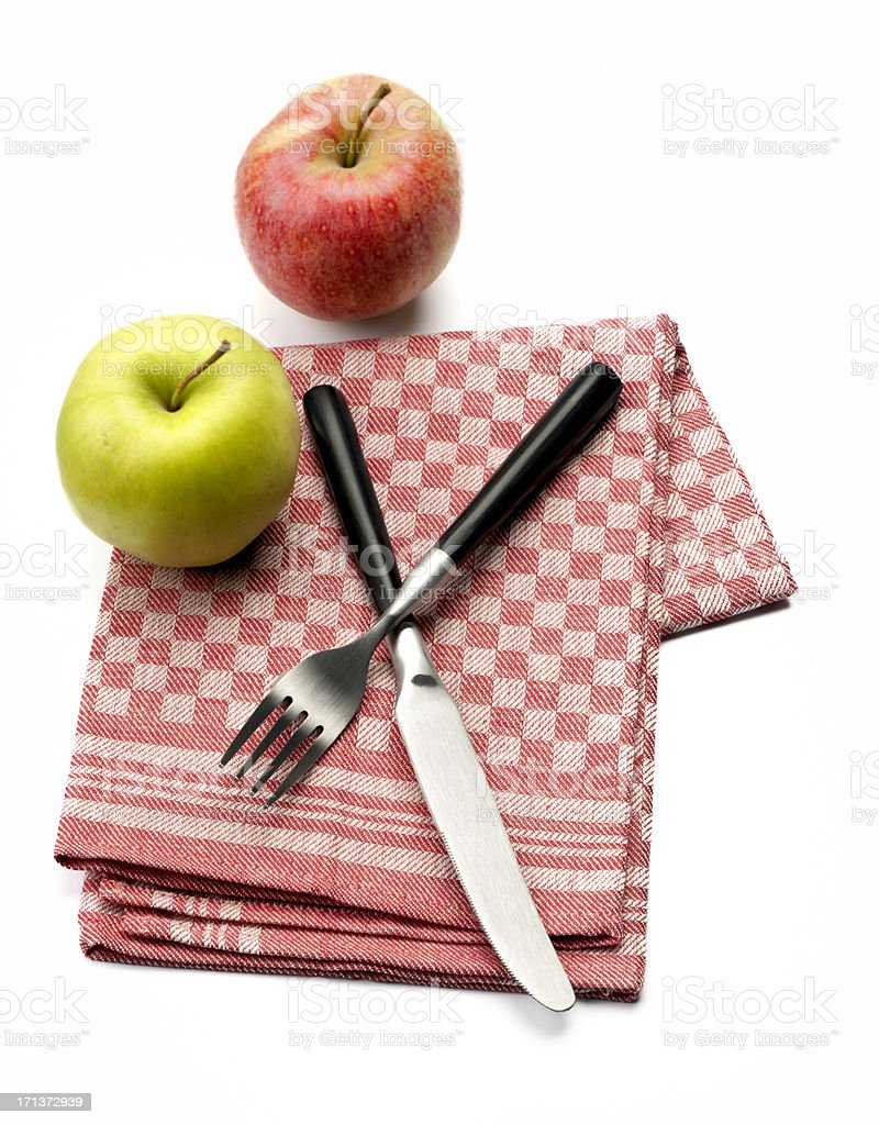 apples on dish towel royalty-free stock photo