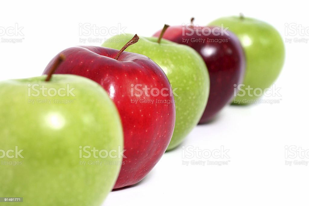 Apples on line royalty-free stock photo