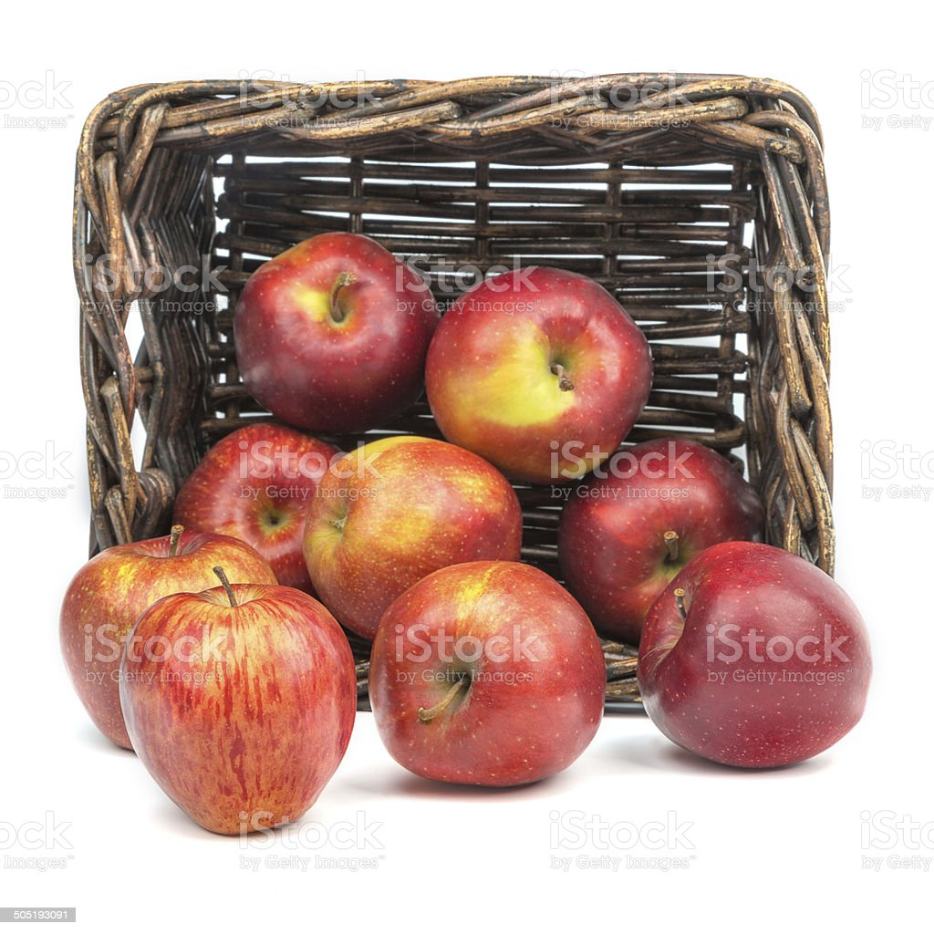 Apples on the background of an old basket stock photo
