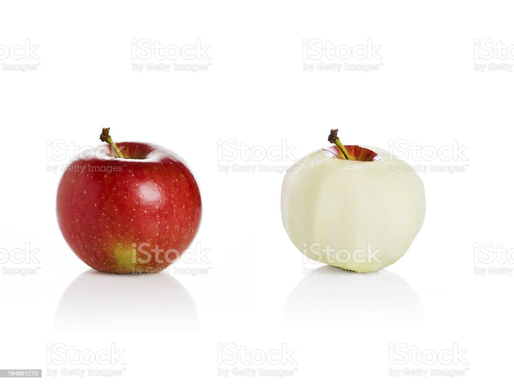 Apples on white background, peeled and unpeeled stock photo