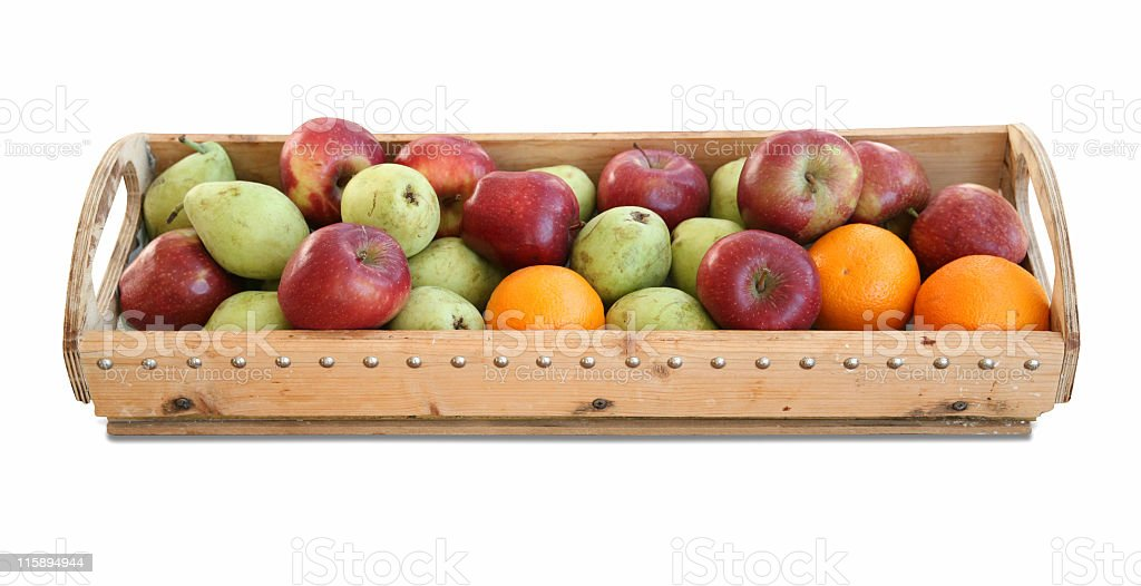 Apples, pears and oranges in wooden plate stock photo