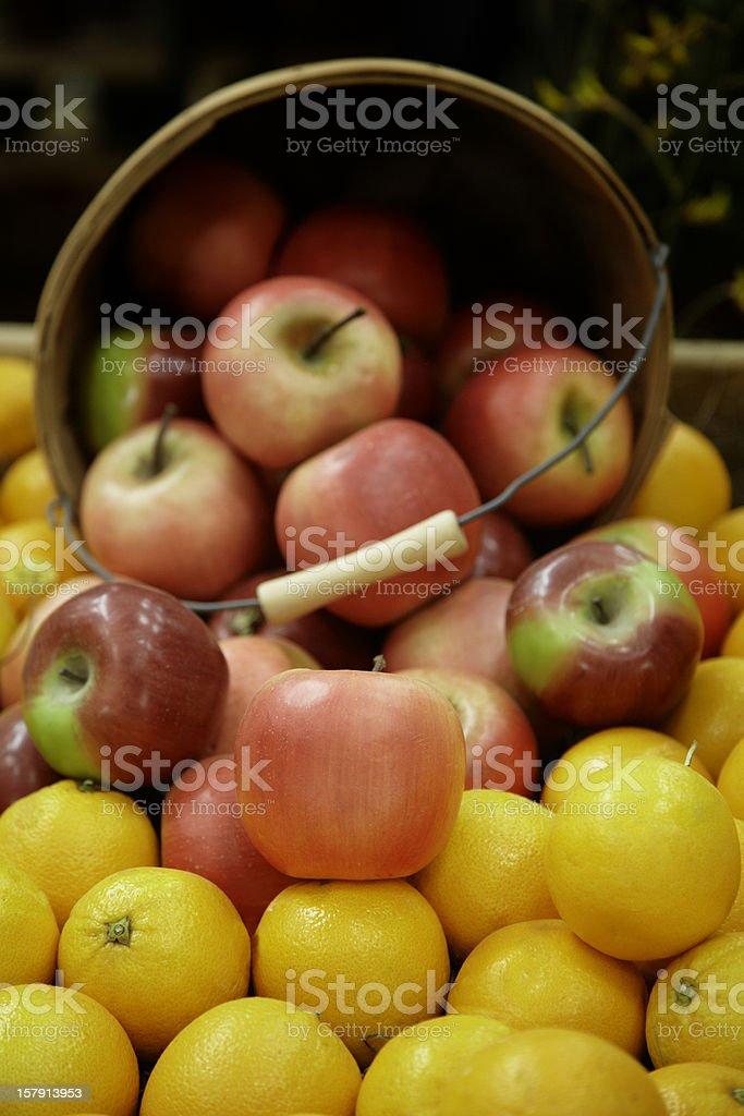 Apples Spilling Out of Basket, Fresh, Food, Fruit, Abundance royalty-free stock photo