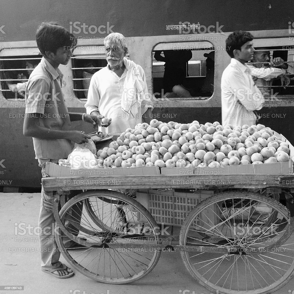 Apples vendor in Varanasi royalty-free stock photo