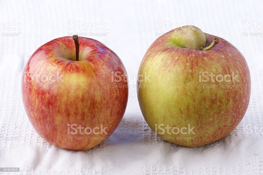 Apples with and without handicap stock photo