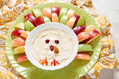 Apples with caramel cream cheese dip for Thanksgiving