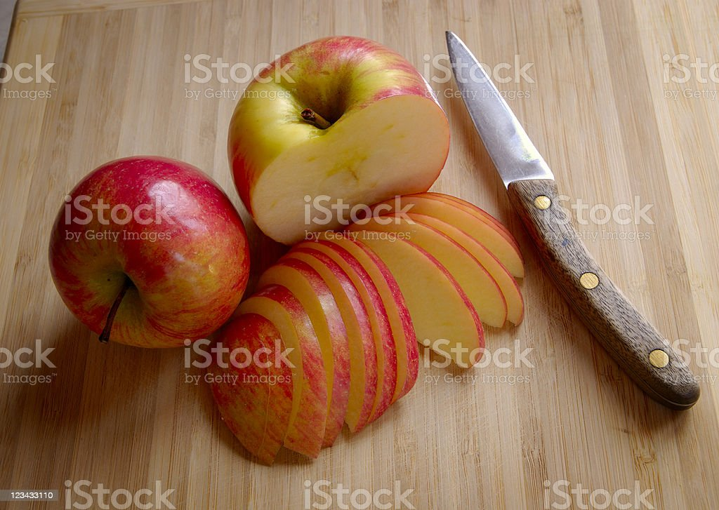 Apples With Kitchen Knife stock photo