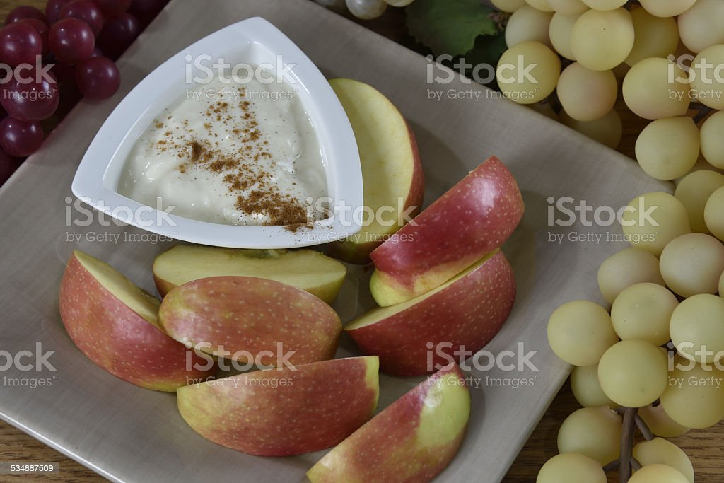 Apples with yogurt stock photo