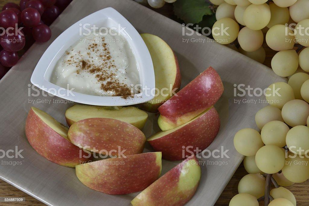 Apples with yogurt stock photo
