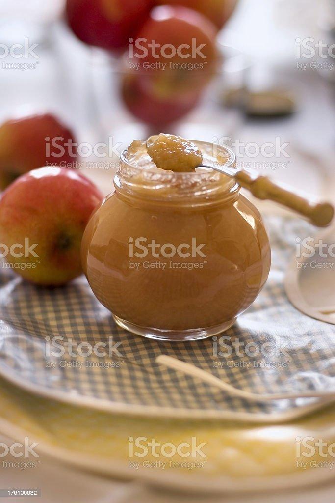Applesauce for baby stock photo