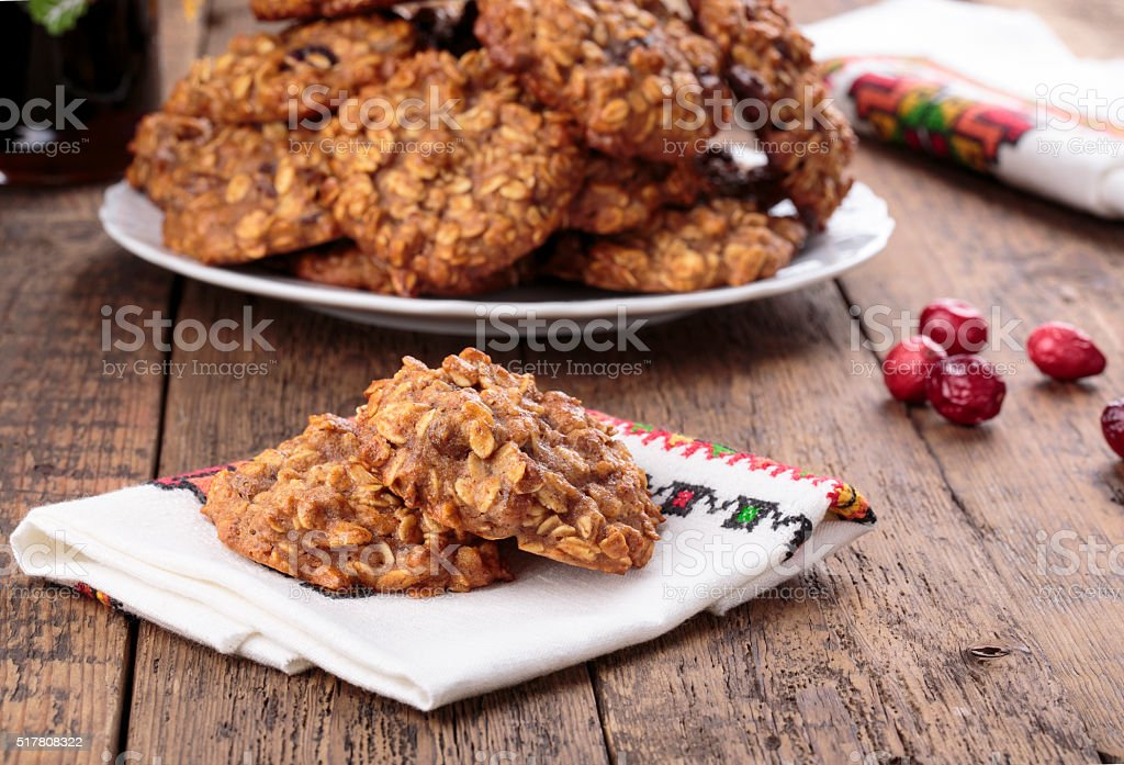 Applesauce oatmeal cookies with dried cranberries stock photo