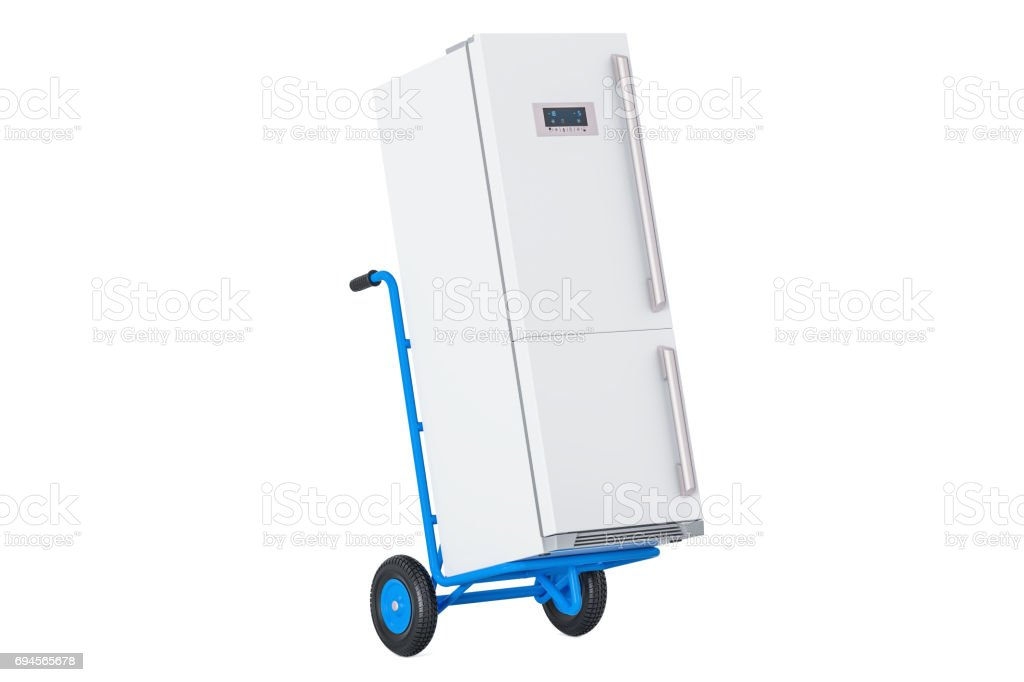 Appliance delivery. Hand truck with fridge, 3D rendering isolated on white background stock photo