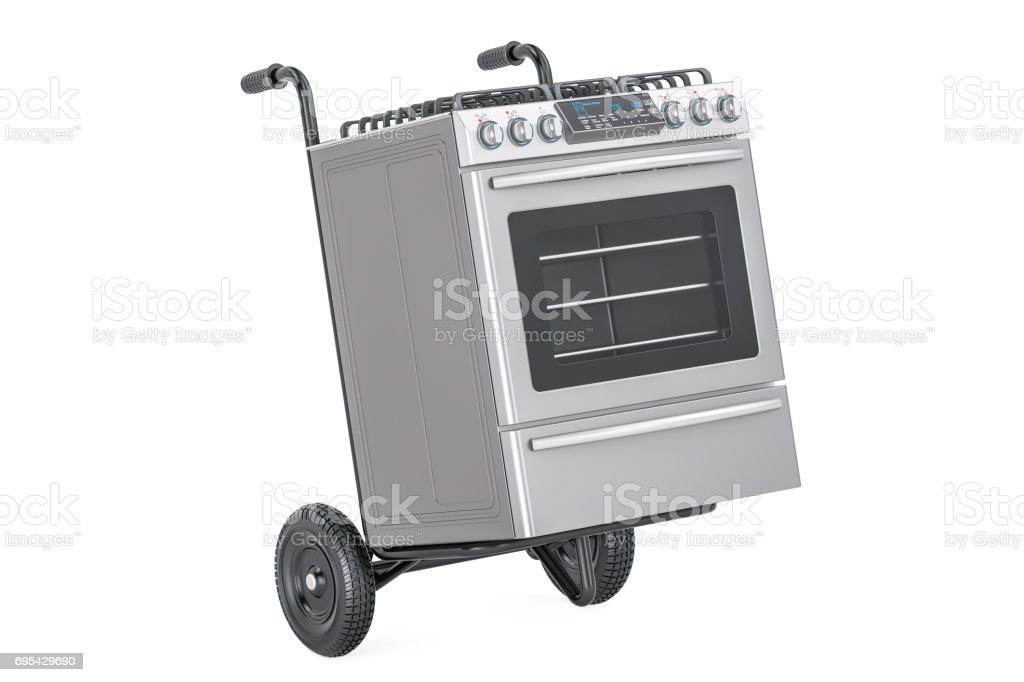 Appliance delivery. Hand truck with gas stove, 3D rendering isolated on white background stock photo