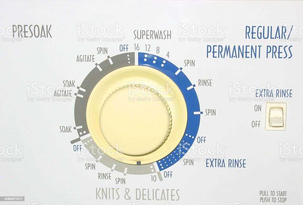Appliance washer dial readings photo. stock photo