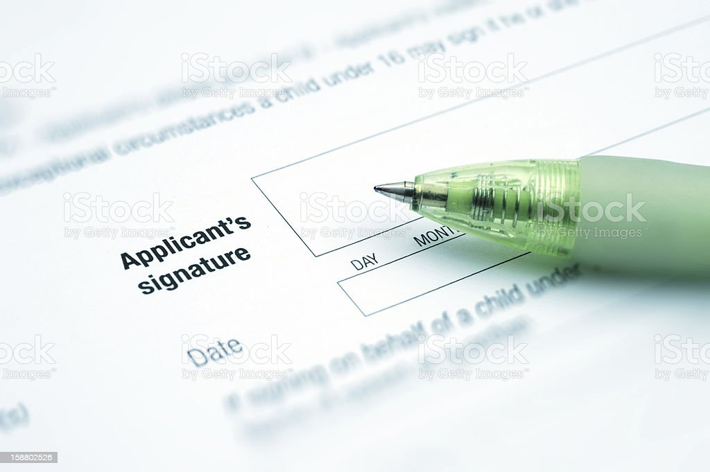 Applicant's Signature royalty-free stock photo