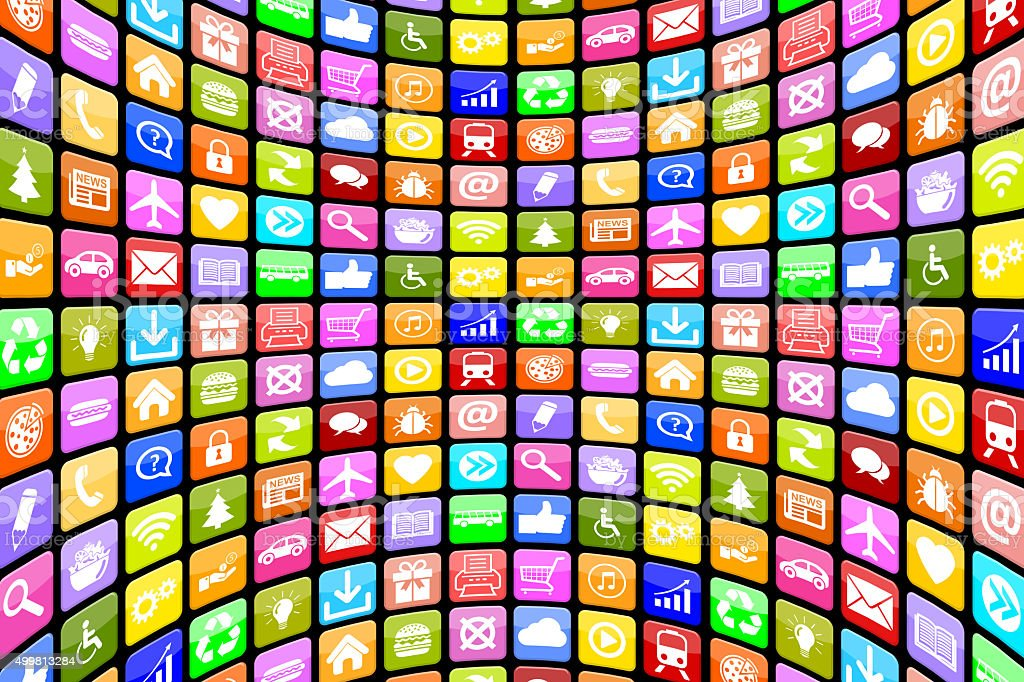 Application Apps App Icon Icons multimedia for mobile smart phone stock photo