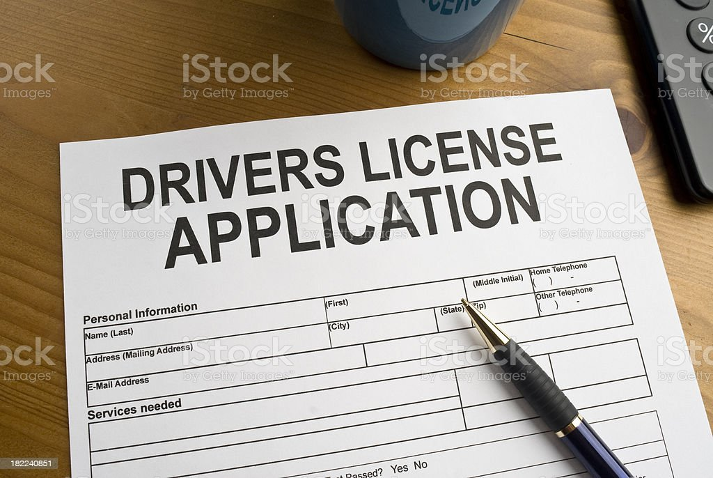 Application for a drivers license stock photo