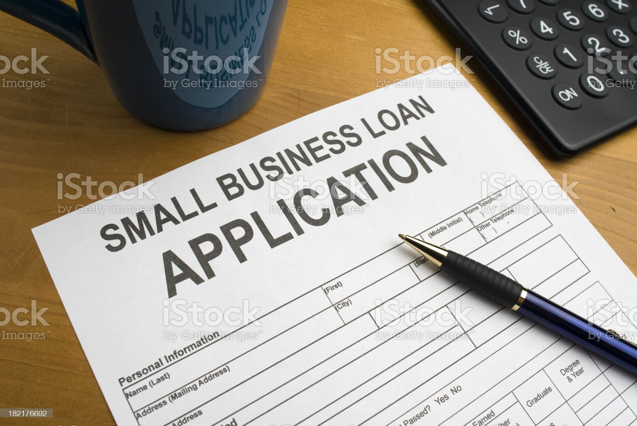 Application for a small business loan royalty-free stock photo