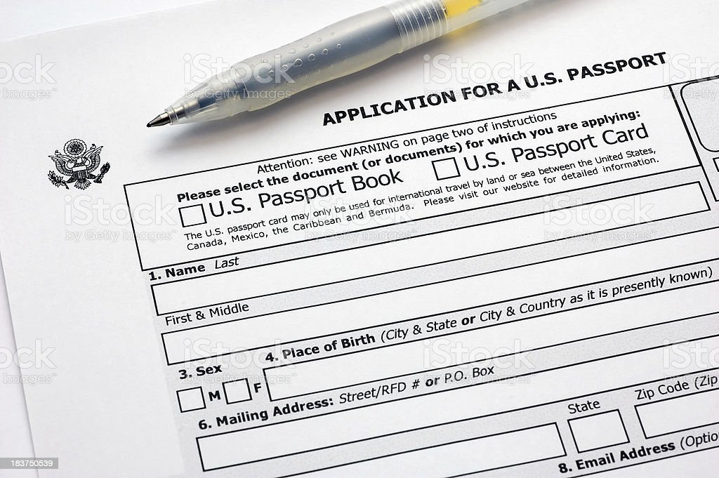 application for a u.s. passport royalty-free stock photo